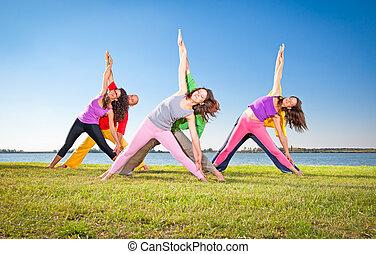 femme, couple, arbre, pratique, homme, yoga, asana