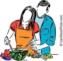 femme, couple, cuisine, illustration, vecteur, ensemble, homme, heureux