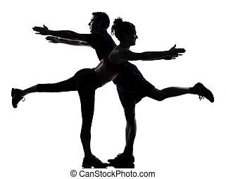 femme, couple, exercisme, une, Fitness, séance entraînement,...