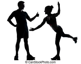 femme, couple, exercisme, une, fitness, séance entraînement, homme