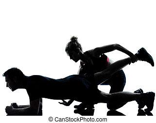 femme, couple, exercisme, une, fitness, séance entraînement...
