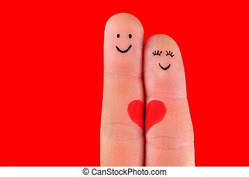 femme, couple, heureux, fond, -, isolé, homme, étreinte, rouges, doigts, concept, peint