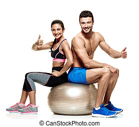 femme, couple, isolé, fitness, exercices, homme