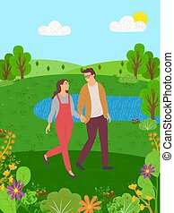 femme, couple, lac, promenades, fleurs, collines, homme