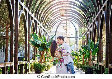 femme, couple, parc, baisers, aimer, homme