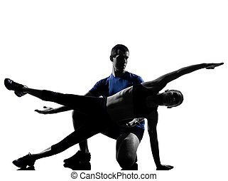 femme, couple, séance entraînement, s'exercer homme