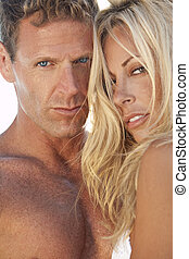 femme, couple, séduisant, sexy, plage, homme