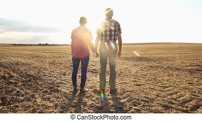 femme, couple, soir, personne agee, avoir, promenade, homme