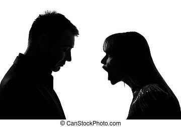 femme, couple, une, cris, homme, crier, conflit