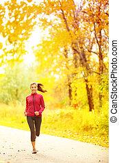 femme, coureur, athlète, automne, courant, forêt, automne