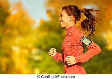 femme, coureur, automne, courant, forêt, automne