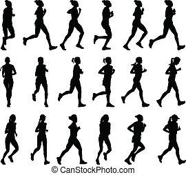 femme, coureurs marathon