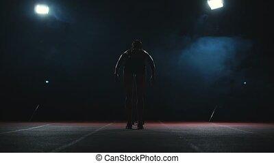 femme, course, chaussures, piste, athlète, fond, sombre, arrière-plan., jogging, espadrilles, plan, stade, gotovtes, professionnel, sprint, moyenne