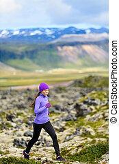 femme, course, coureur, -, traîner courir, sport