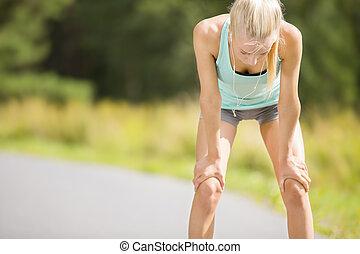 femme, course, elle, épuisé, après, jeune, long, souffle,...