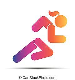 femme, course, simple, symbole, isolé, arrière-plan., courant, blanc