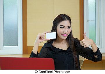 femme, crédit, achats, carte, jeune, internet
