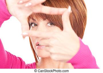 femme, créer, agréable, cadre, doigts