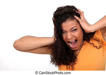femme, crier, désespéré