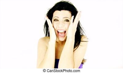 femme, crier, heureux