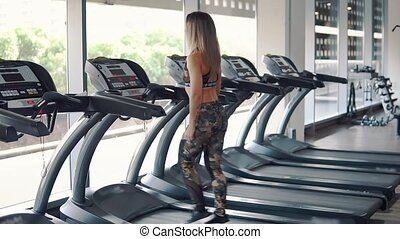 femme, crise, gymnase, jeune, courant, exercice
