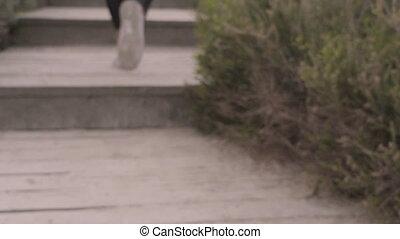 femme, crise, jeune, sports, mouvement, shots., jogging, lent, stabilisateur, steps., super