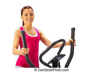 femme, croix, jeune, trainer., usages, elliptique