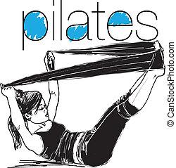 femme, croquis, pilates, bande, résistance, illustration, caoutchouc, gym., vecteur, fitness, sport