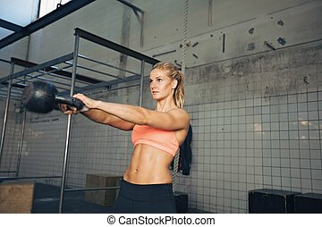 femme, crossfit, exercice, fitness