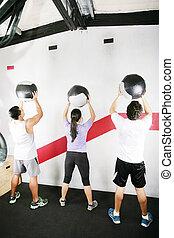 femme, crossfit, série, homme, gym.