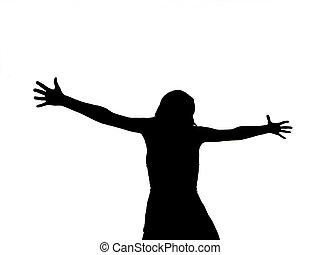 femme, crucifié