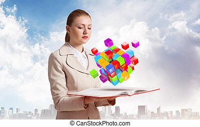 femme, cubes, 3d, coloré, regarde, voler