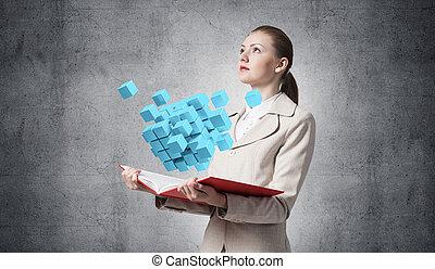 femme, cubes, géométrique, 3d, projection, bleu
