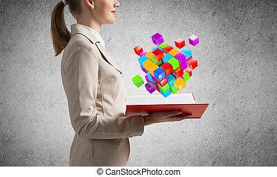 femme, cubes, géométrique, 3d, projection, coloré
