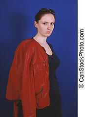 femme, cuir, vendange, jeune, veste, mode, poser, rouges