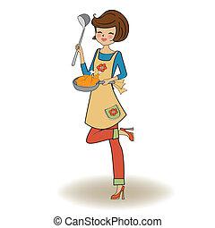 femme, cuisine