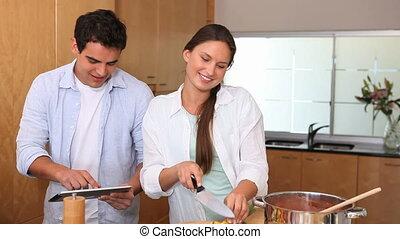 femme, cuisine, elle, mari