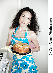 femme, cuisson, dans, cuisine