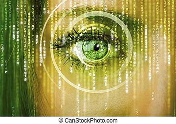 femme, cyber, moderne, matrice, oeil