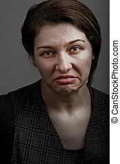 femme, décue, grimace, malheureux, triste