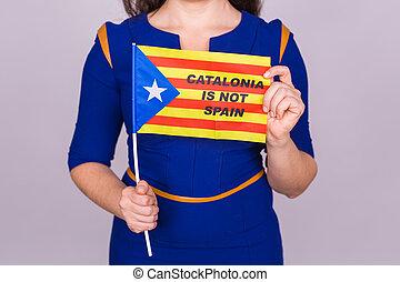 femme, démocratie, flag., concept., haut, referendum, catalan, séparation, spain., fin, estelada, indépendance, catalogne