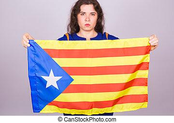 femme, démocratie, flag., concept., referendum, catalan, séparation, portrait, sérieux, spain., estelada, indépendance, catalogne