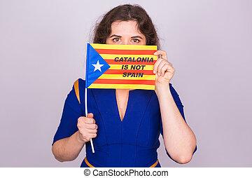 femme, démocratie, flag., concept., referendum, catalan, séparation, spain., estelada, indépendance, catalogne