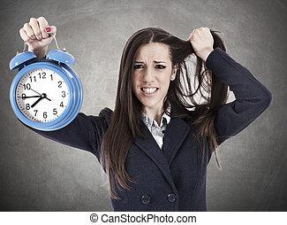 femme, désespéré, business, horloge