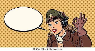 femme, d'accord, gesture., retro, girl, aviateur, pilote
