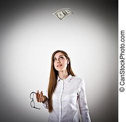 femme, dans, blanc, et, une, dollar.
