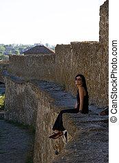 femme, dans, château