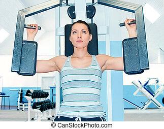 femme, dans, club forme physique
