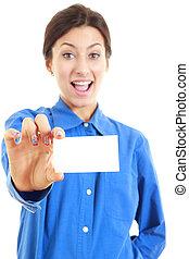 femme, dans, elle, 20s, dans, chemise bleue, projection, carte blanches affaires