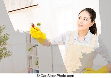 femme, dans, gants, nettoyage, fenêtre